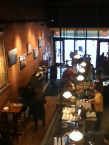 view of the cafe from the top floor