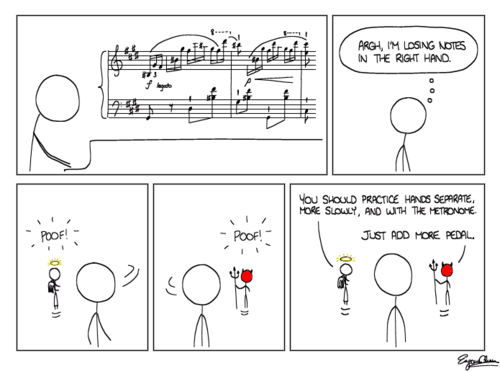 what pianist hasn't thought this at one point or another? The pedal can be very forgiving, especially in impressionism.